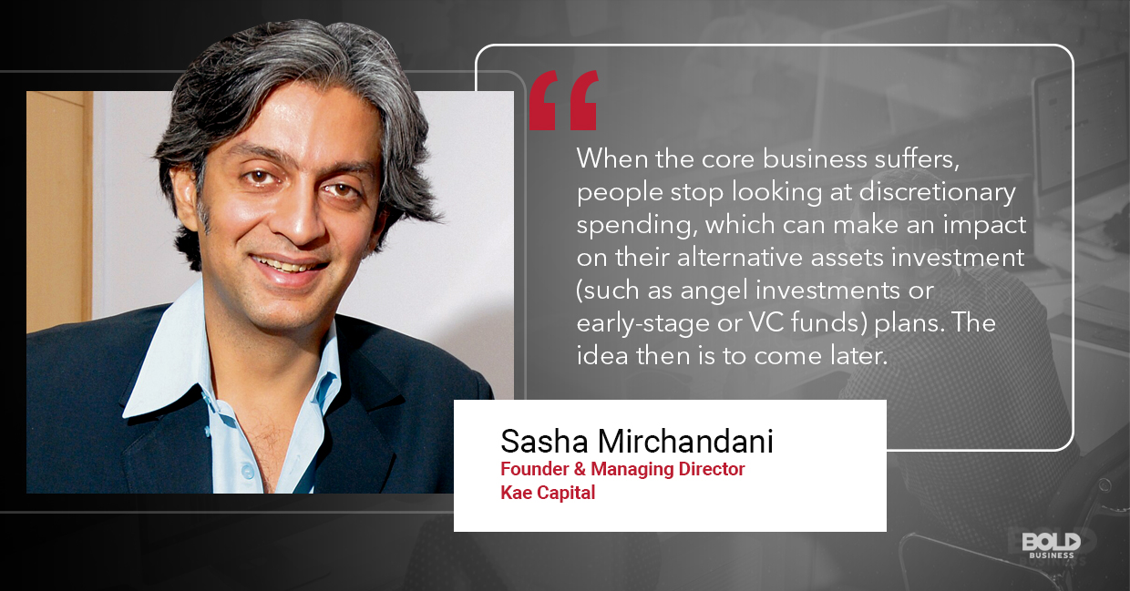 a photo quote of Sasha Mirchandani in relation to the topic of possibility of the presence of a startup bubble