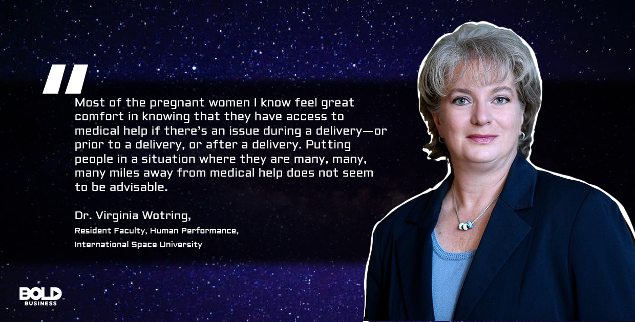 a photo quote of Virginia Wotring in relation to the topic of the possibility of human birth in space