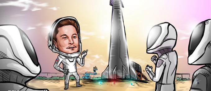 a cartoon of Elon Musk pointing out the SpaceX Starship, reusable orbital rocket, behind him to three astronauts