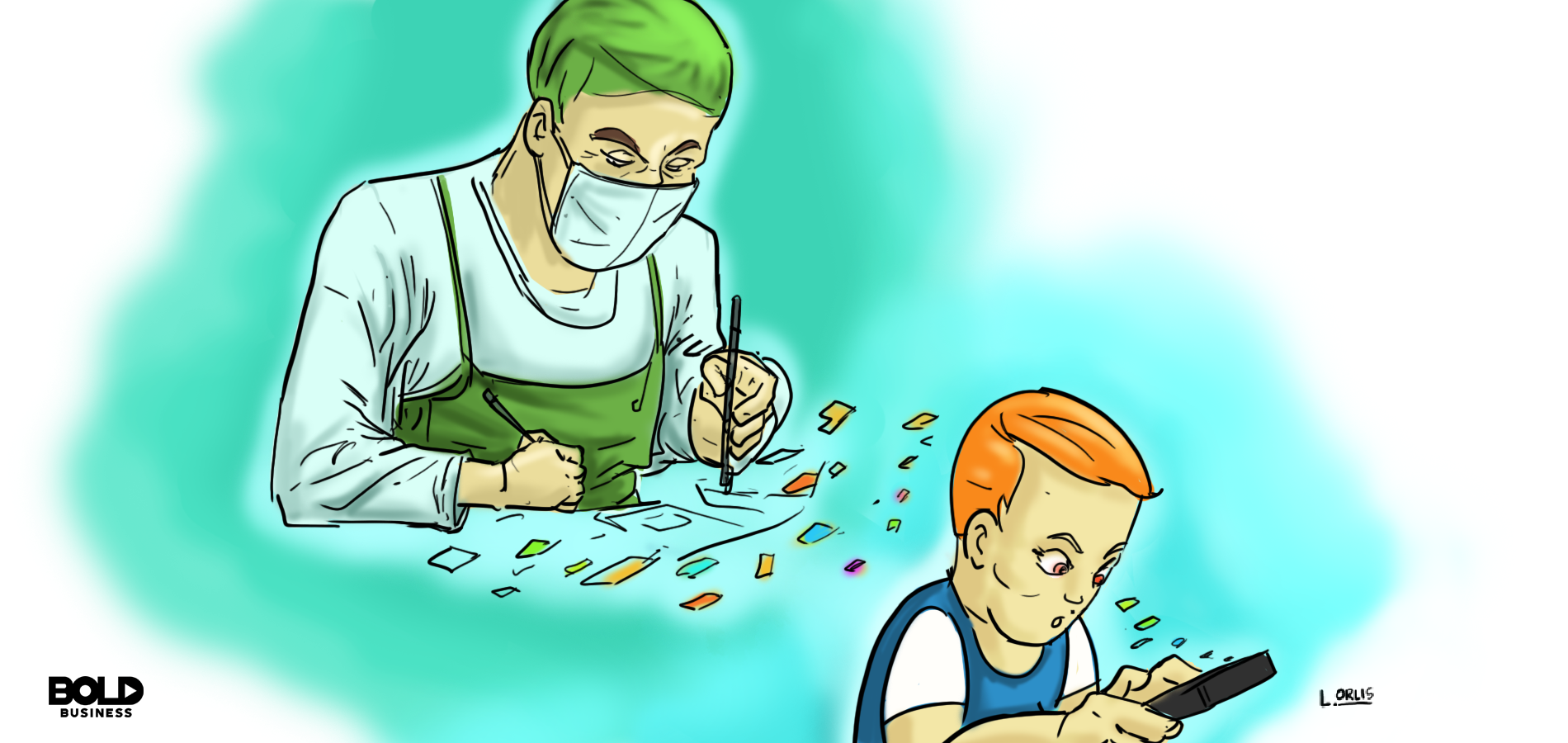 cartoon of an app developer dressed in a surgeon's outfit and mask making a kid-friendly app, and fragments of that app are flying into the screen of a kid playing with that app on his mobile smartphone