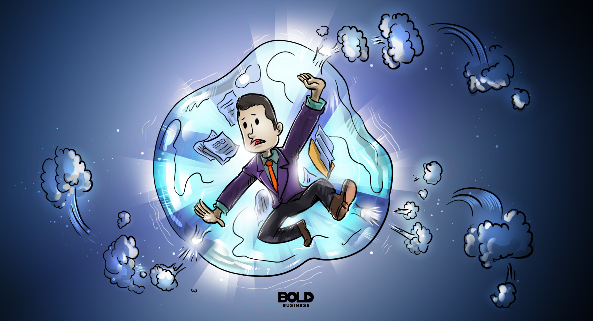 a cartoon of a businessman trapped inside a startup bubble that looks like it's about to burst