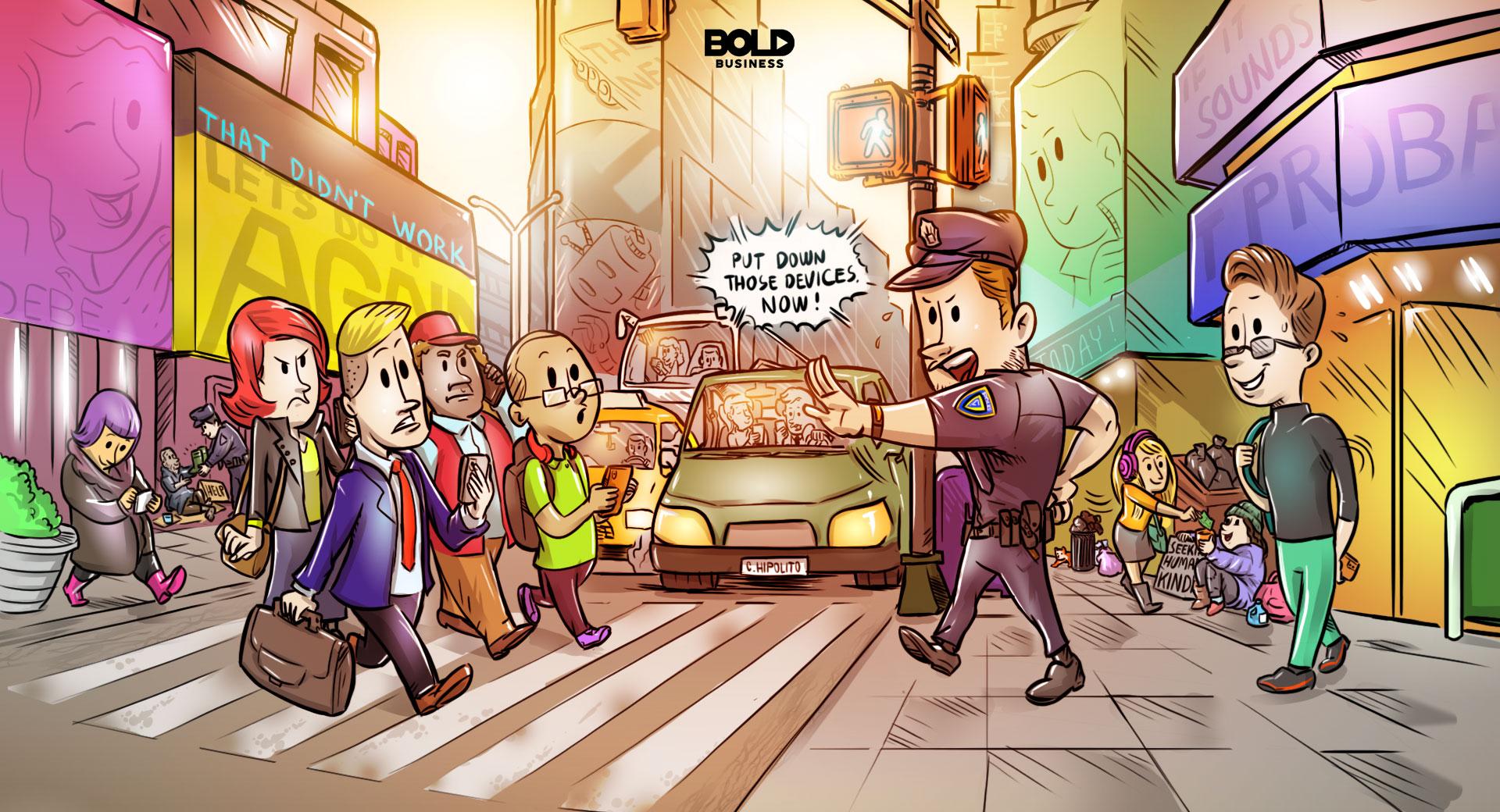 Distracted walking cartoon