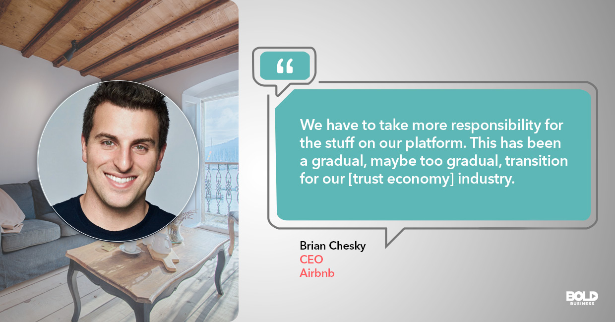 Trust economy, Brian Chesky quoted.