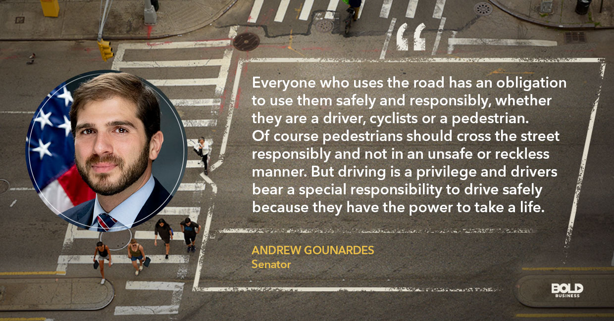 Texting while walking, Andrew Gounardes quoted