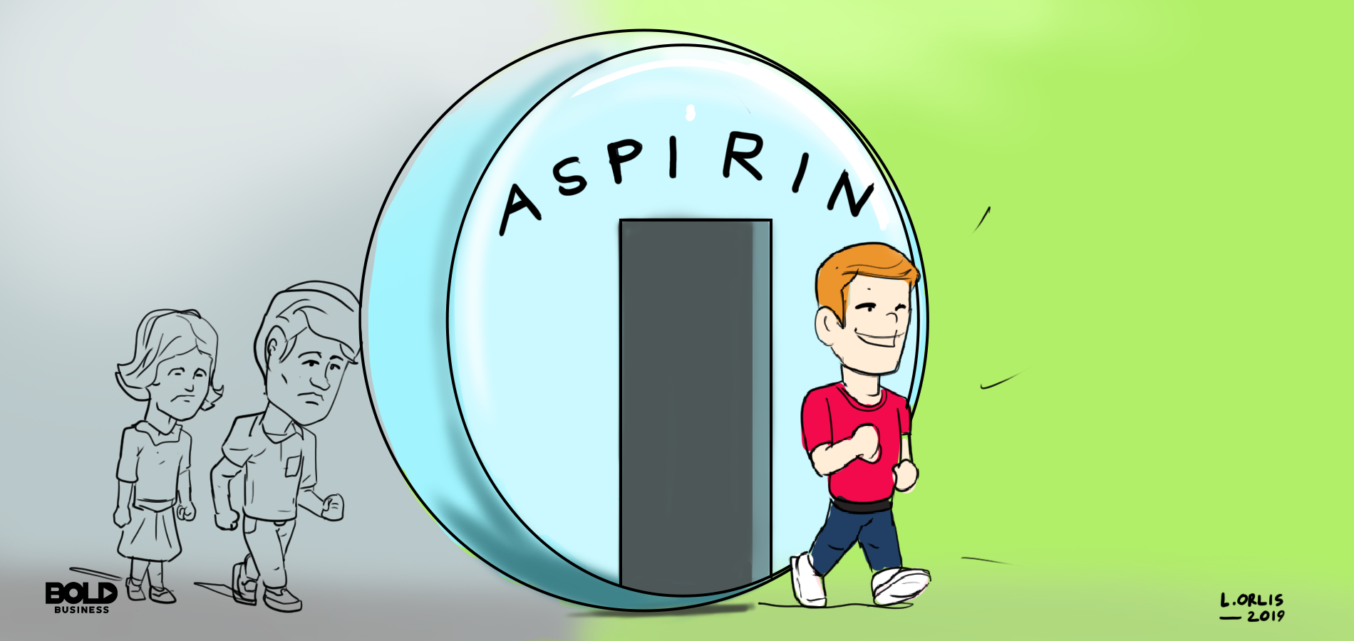 Cartoon of a man walking through an aspirin tablet.