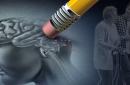 Dementia and walking, a pencil eraser erasing part of the brain
