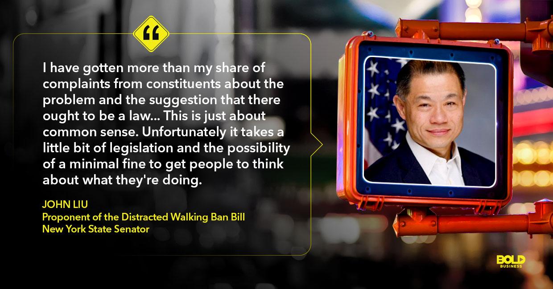 Distracted walking, John Liu quoted
