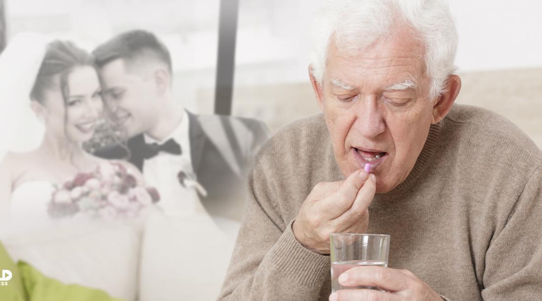 Old man takes a memory-erasing pill.