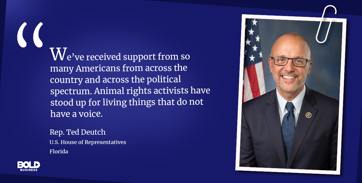 Congressional Representative talking animal rights.