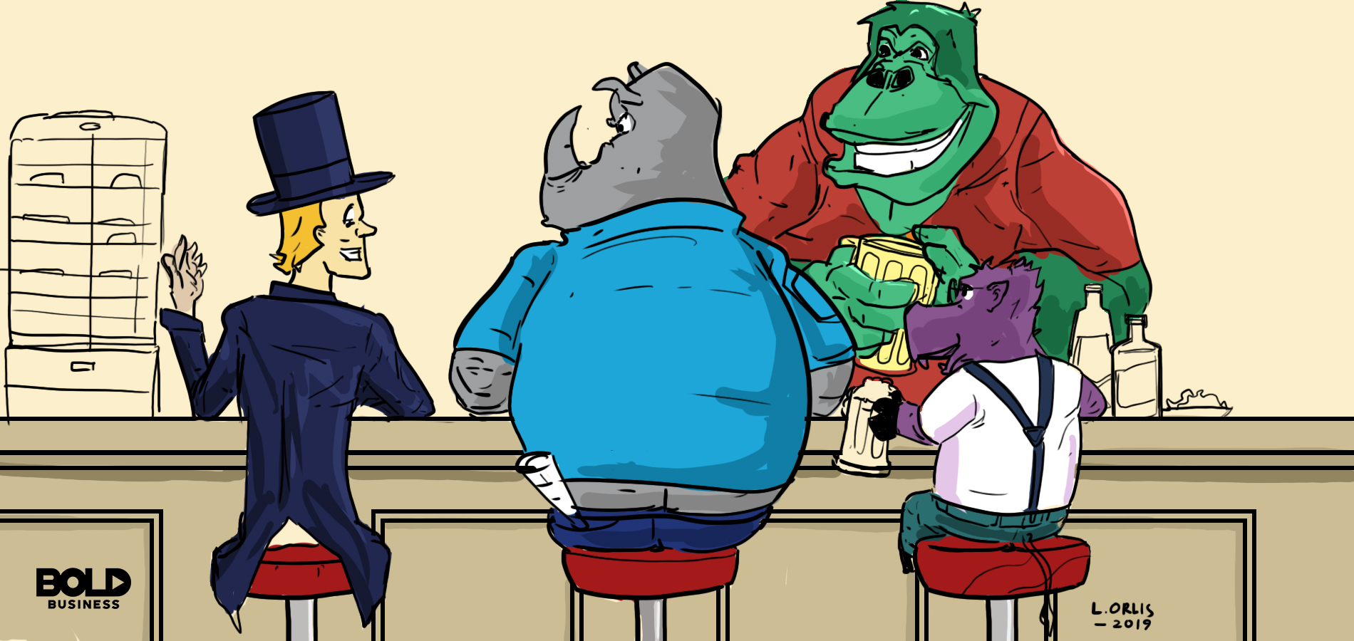 a photo of animals and a human drinking beer at a bar counter with a gorilla serving as the bartender, symbolizing the current talks of equality for animals and people