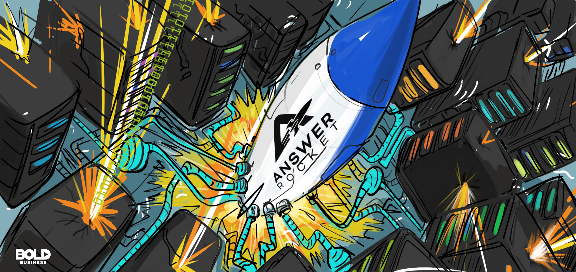 cartoon of an actual rocket (that symbolizes AnswerRocket) with wires connected to several box-like machines that are responsible for processing data analytics and dealing with data overload