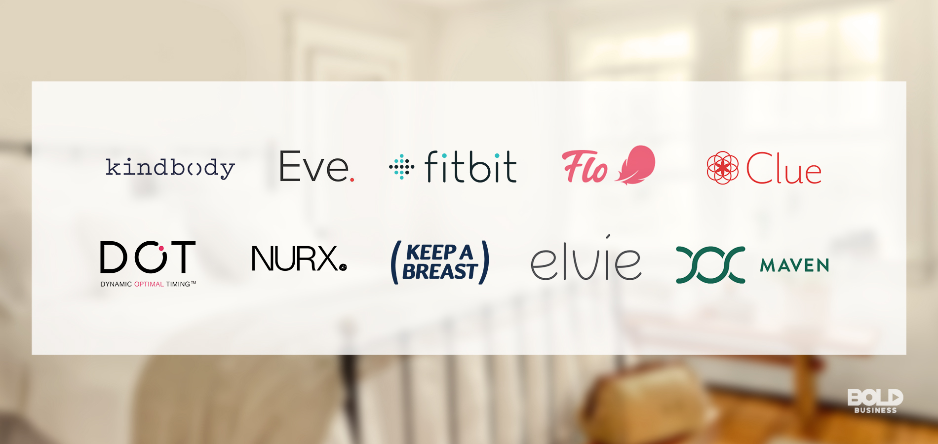 a photo containing the logos of companies or brands that address female health issues or have produced apps for female health