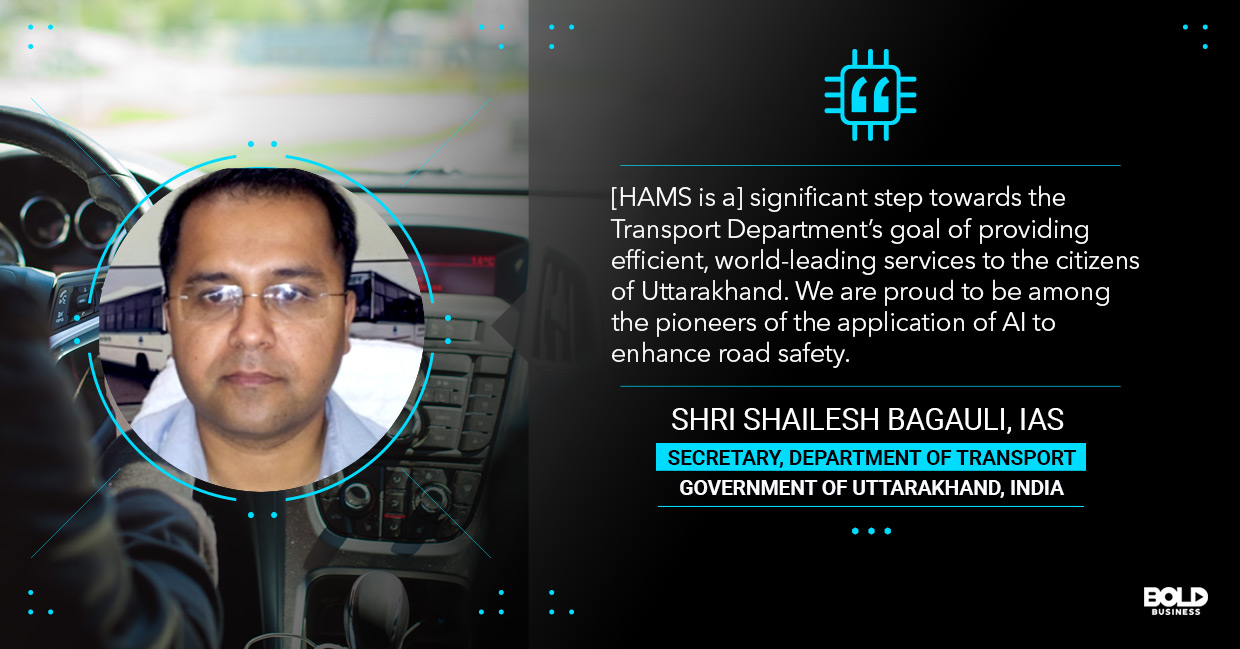 a photo quote of Shri Shailesh Bagauli in relation to the topic of automated driving tests and transportation AI