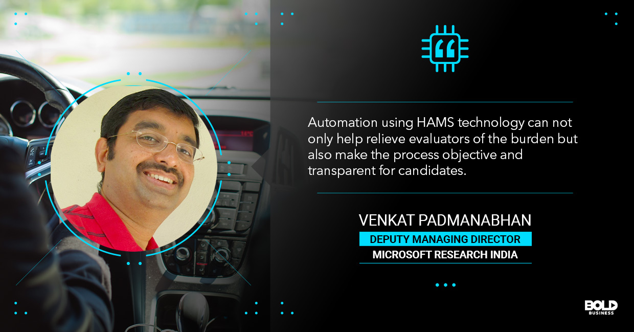a photo quote of Venkat Padmanabhan in relation to the topic of automated driving tests and transportation AI