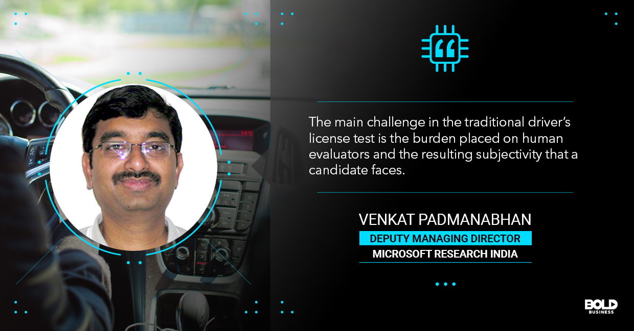 a photo quote of Venkat Padmanabhan in relation to the topic of automated driving tests
