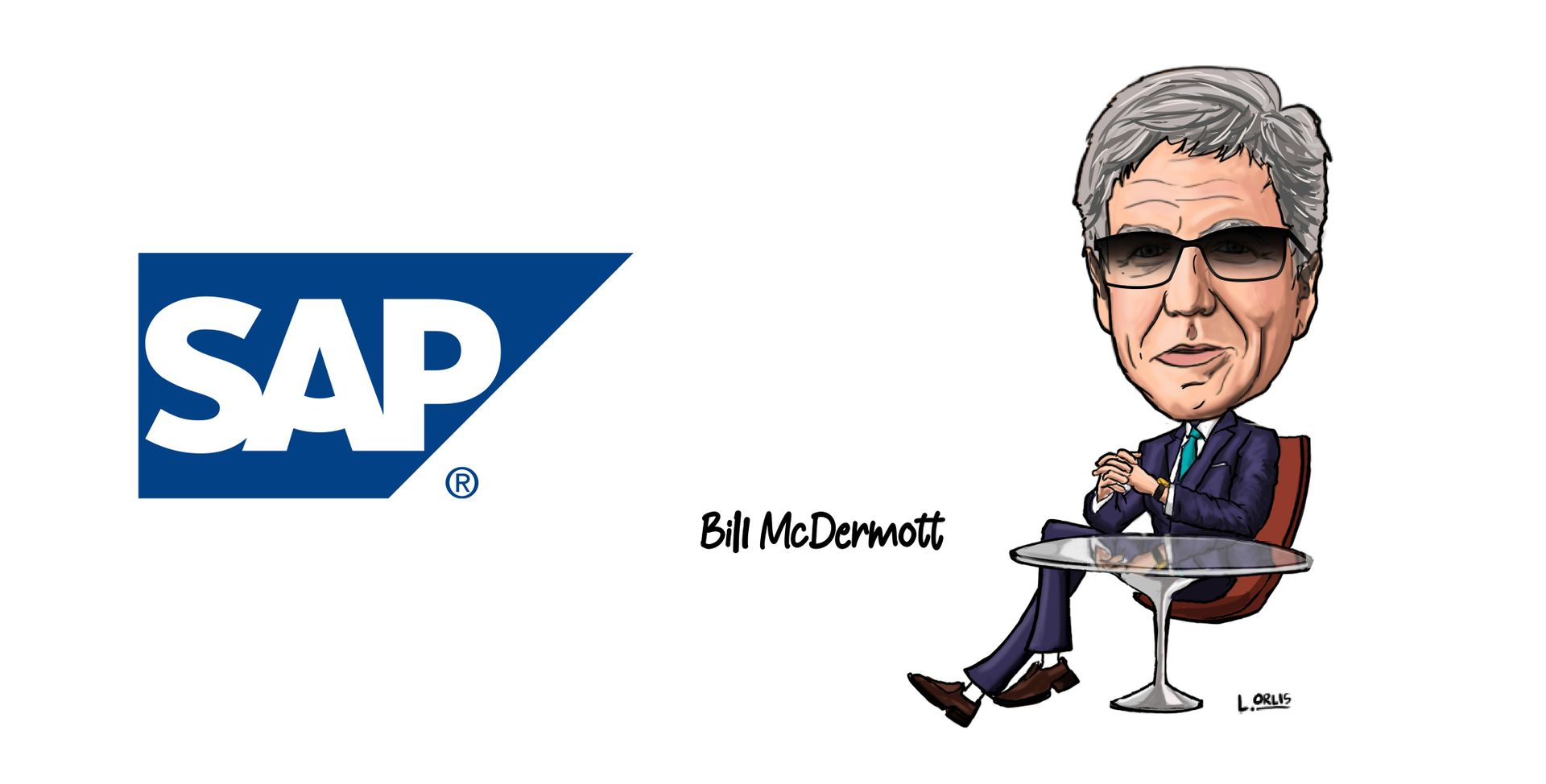cartoon of bill mcdermott, ceo of sap