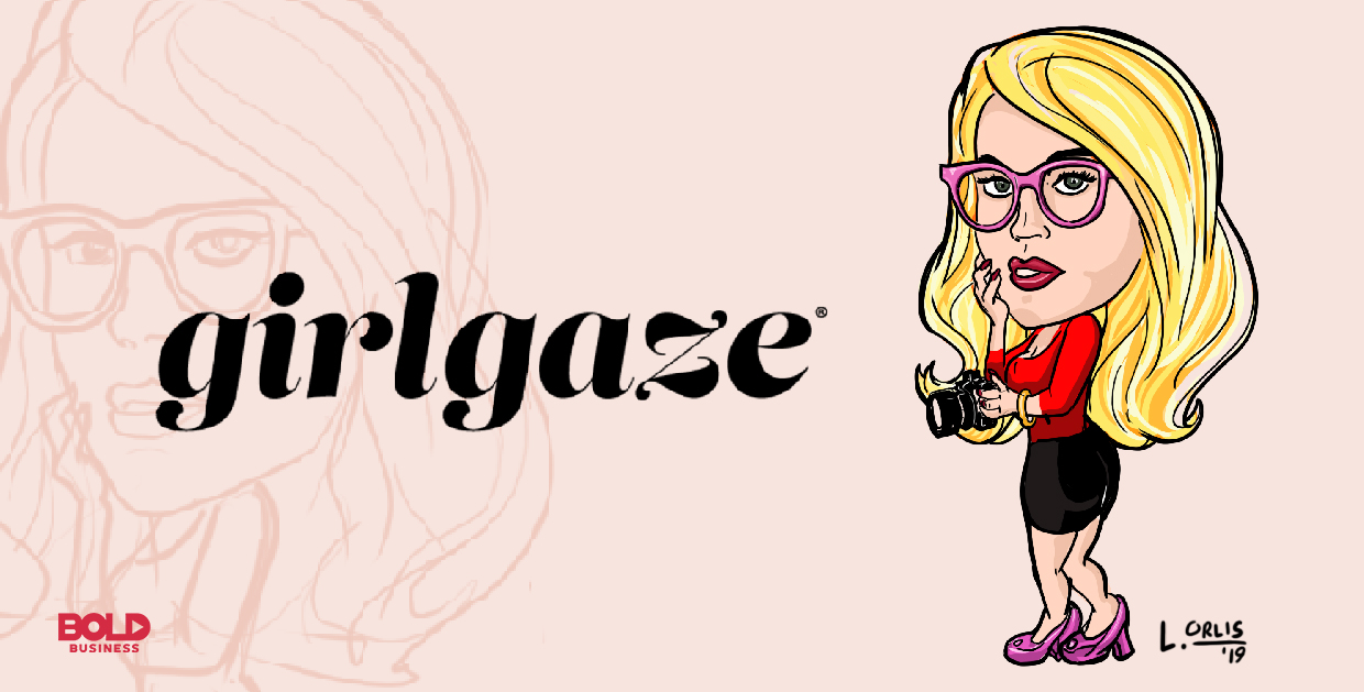 cartoon caricature of Amanda de Cadenet, Founder and CEO of Girlgaze Inc., posing as the bold leader spotlight of the week