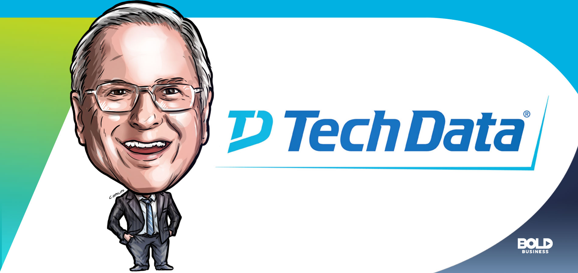 cartoon caricature of Bob Dutkowsky, Executive Chairman of Tech Data, posing as the bold leader spotlight of the week