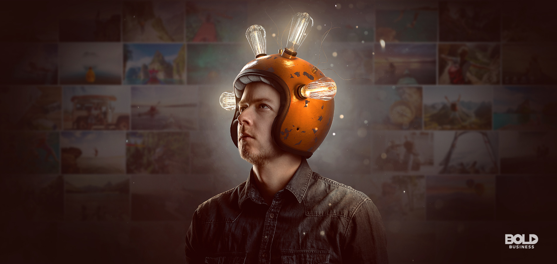 a photo of a man wearing a helmet with lighted bulbs, symbolizing the advancements in brain computer interface today
