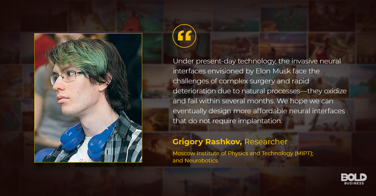 a photo quote of Grigory Rashkov in relation to the topic of the evolving brain computer interface and brain AI