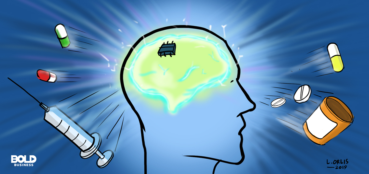 cartoon drawing of a man's head with a chip implanted in his brain as part of the process for brain stimulation therapy