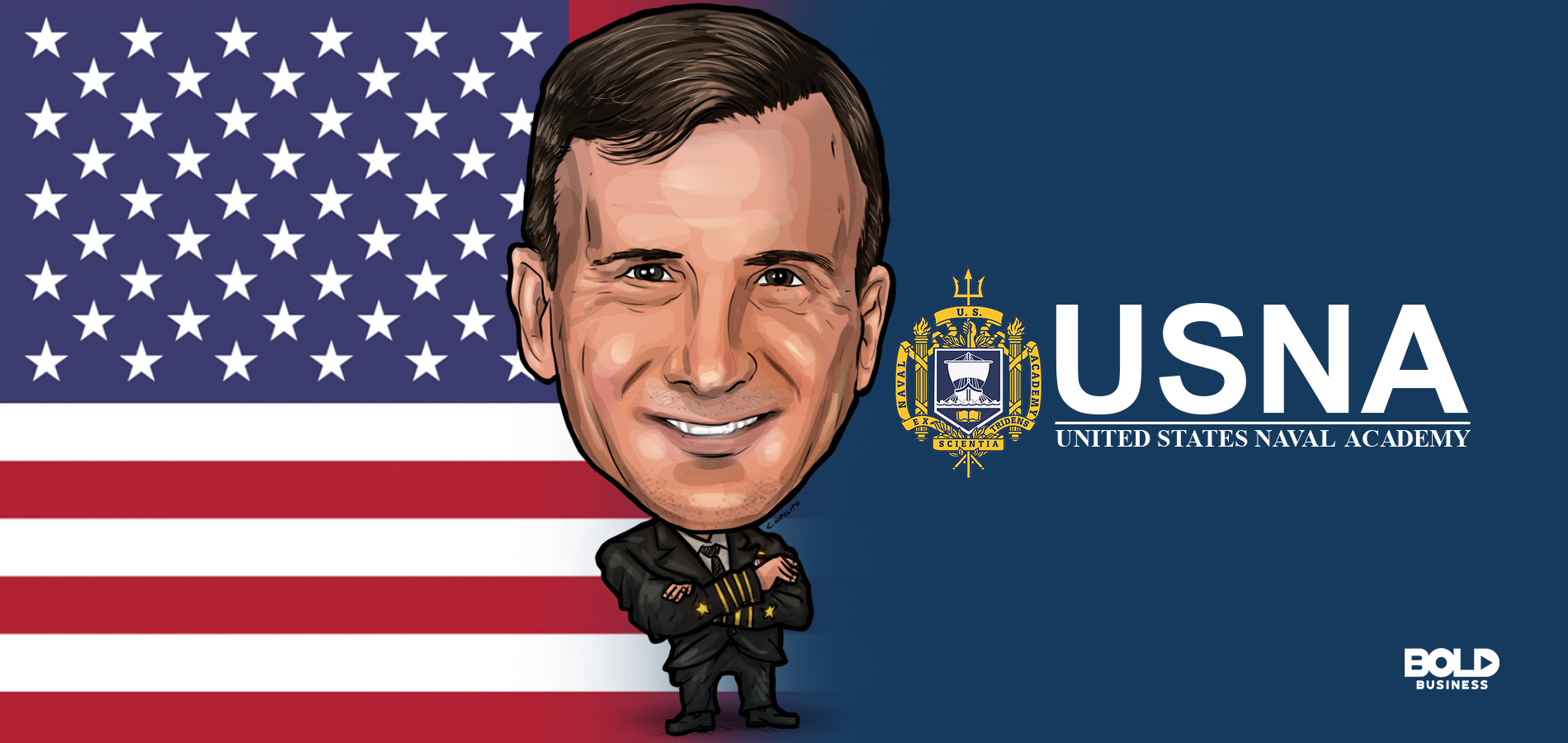 cartoon of captain robert chadwick with the united states naval academy logo beside him