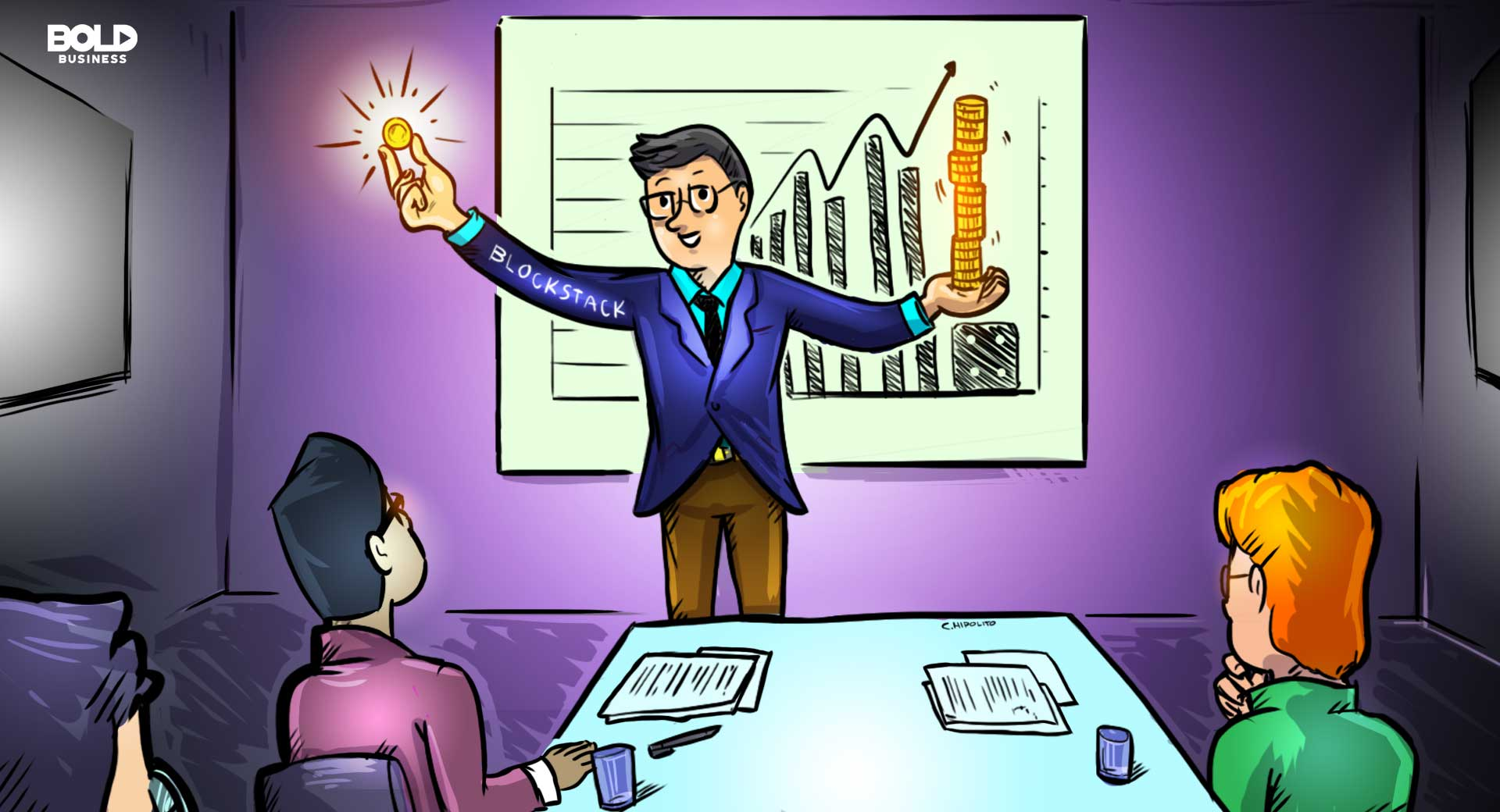 cartoon of a Blockstack employee smiling and holding up gold coins to his coworkers during a conference meeting