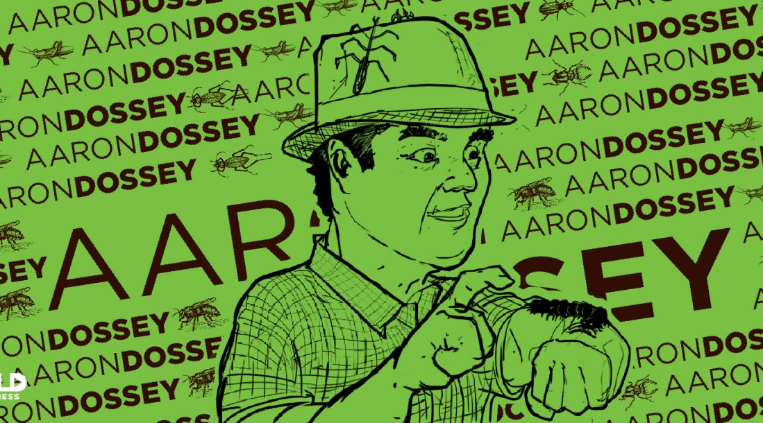 cartoon of aaron dossey and his appreciation of edible bugs as sustainable food source