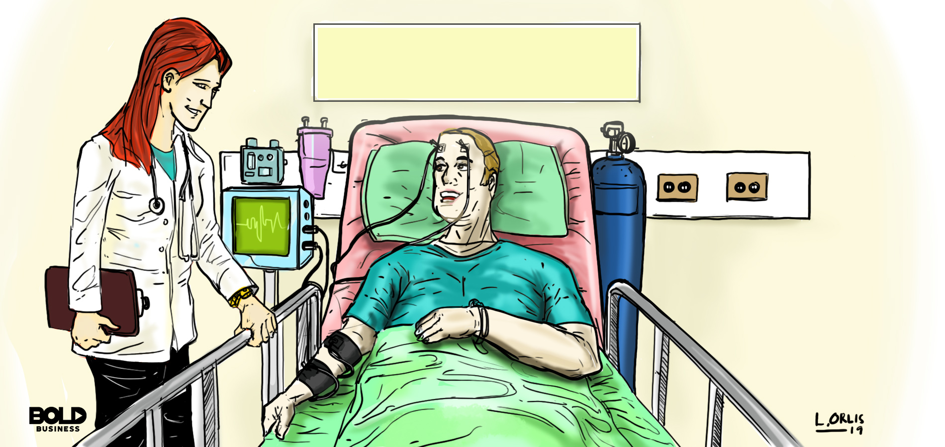cartoon of a man with ALS disease symptoms laying on a hospital bed while a female doctor talks with him