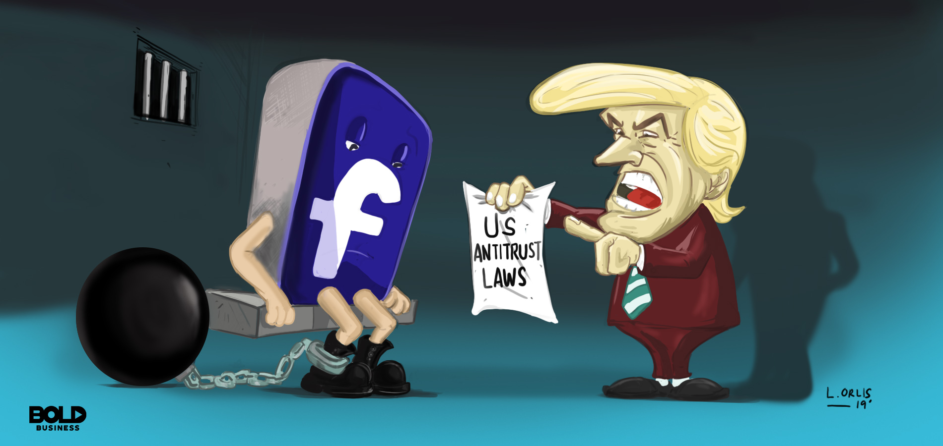 cartoon of Donald Trump holding out a note related to Facebook antitrust problems and pointing to a sad FB logo in prison