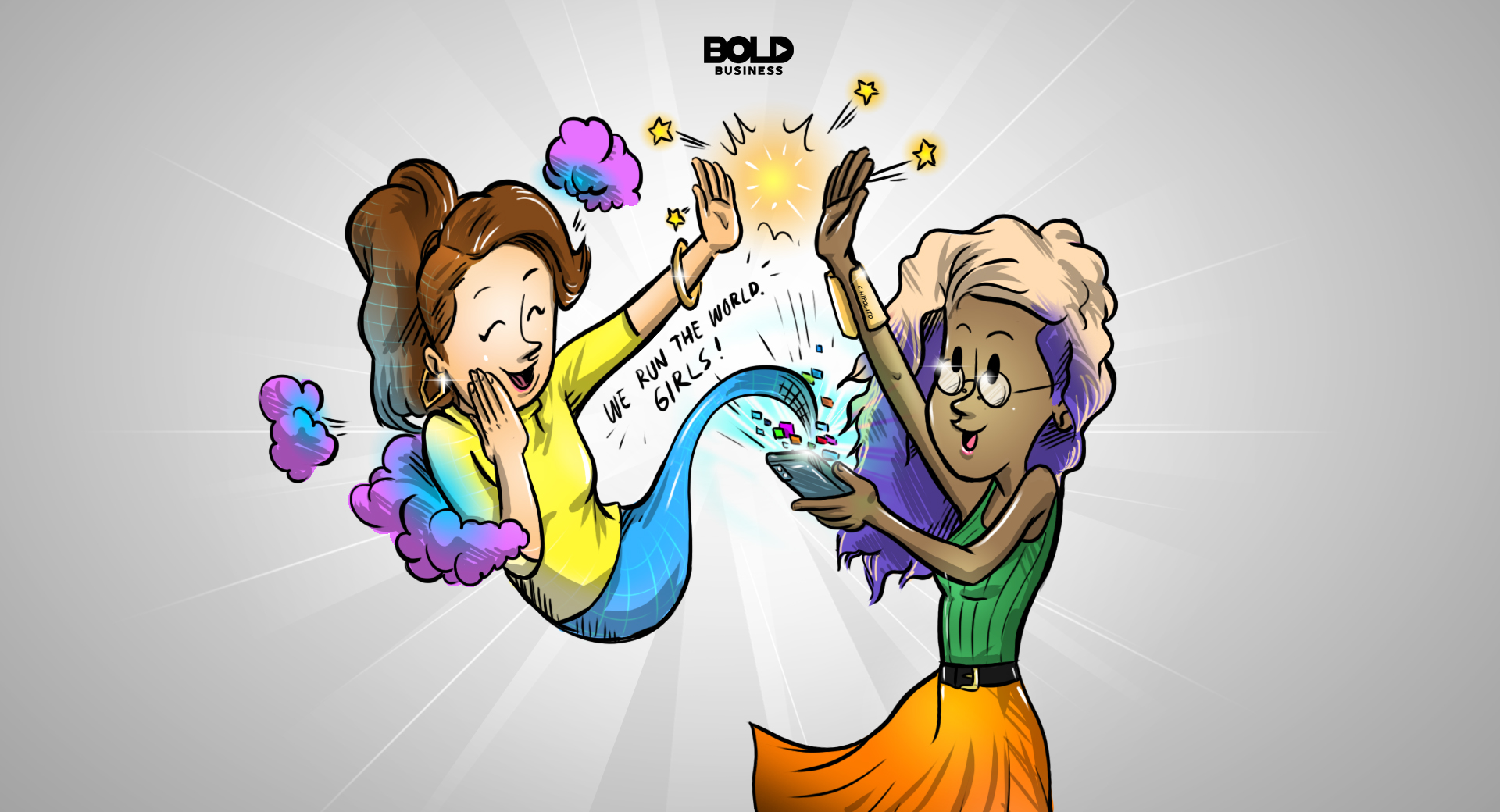 cartoon of a woman looking at female health apps on her phone while a female genie rises from the phone and high-fives her