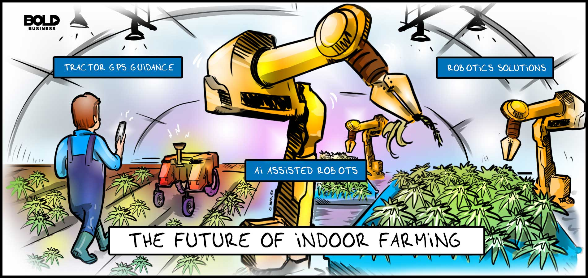 a cartoon of indoor farmer using smart technology and assisted by ai robots in farming