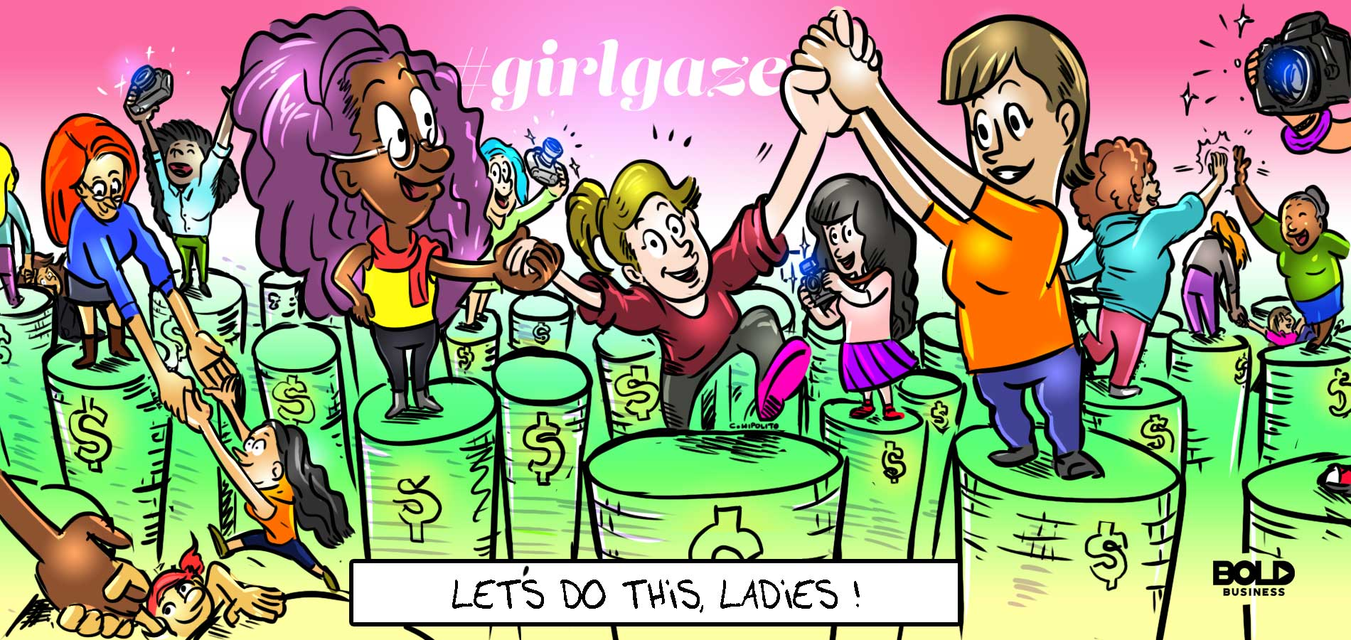cartoon of female photographers helping each other up on pedestals as Girlgaze takes steps towards reducing gender disparity