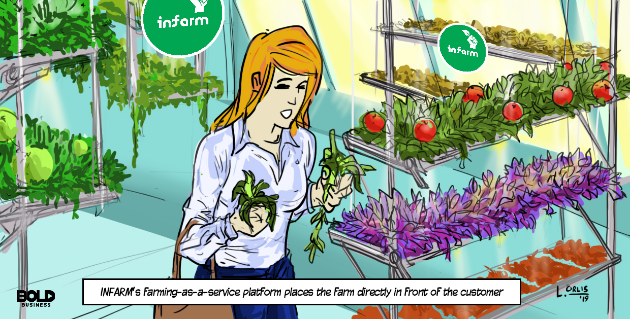 cartoon of a woman harvesting infarm produce
