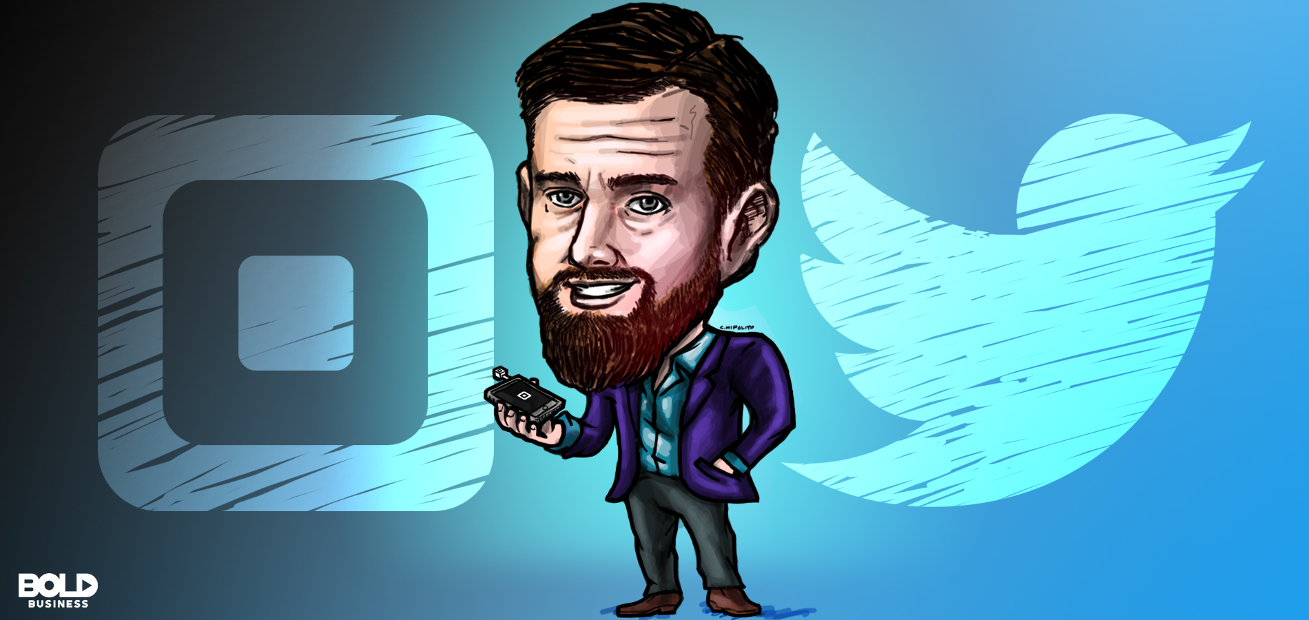 cartoon of jack dorsey of twitter and square