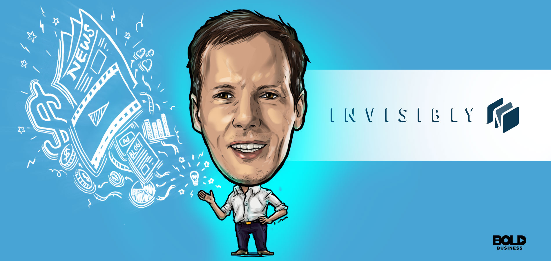 cartoon caricature of Jim McKelvey, founder of Invisibly, posing as the bold leader spotlight of the week