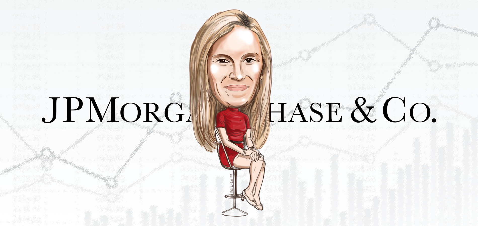 cartoon caricature of Kristin Lemkau, Chief Marketing Officer JPMorgan Chase, posing as the bold leader spotlight of the week