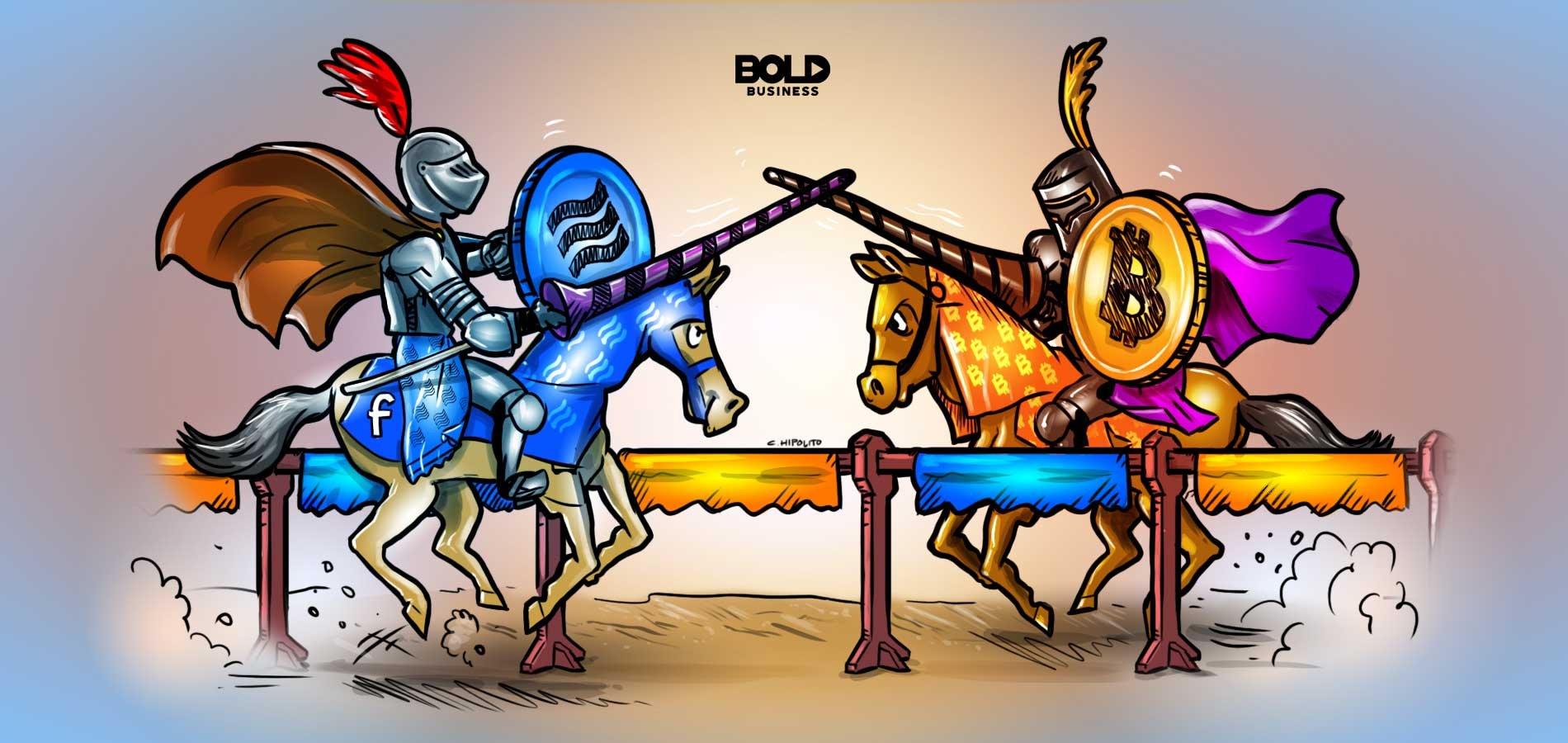 facebook libra coin versus bitcoin in knights joust duel cartoon