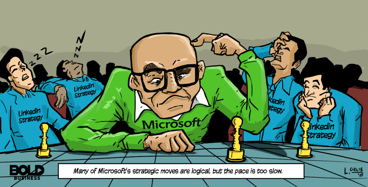 cartoon of microsft ceo having a hard time on making the next move for linkedin strategy
