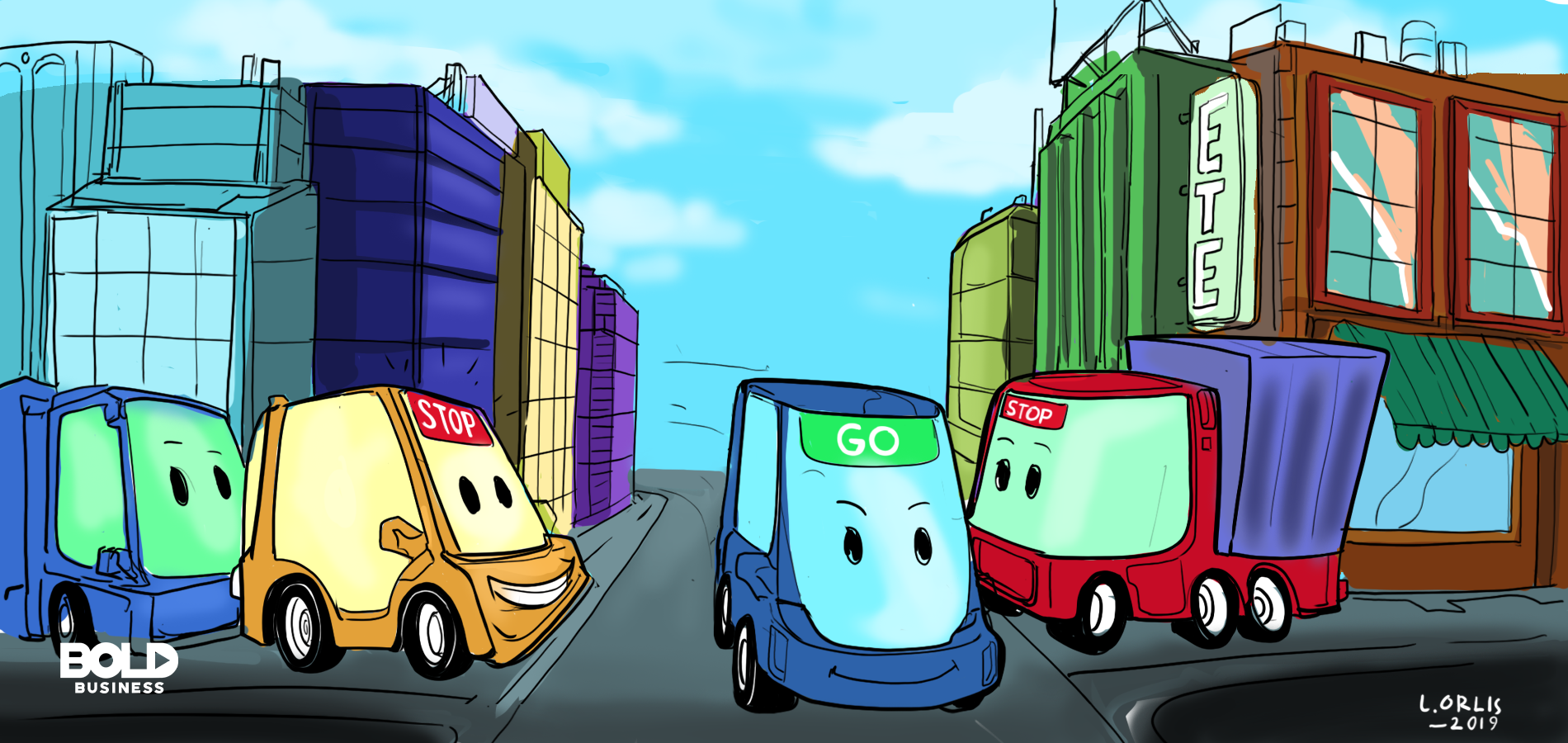 cartoon of vehicles in a road intersection with smart traffic management system like smart traffic lights