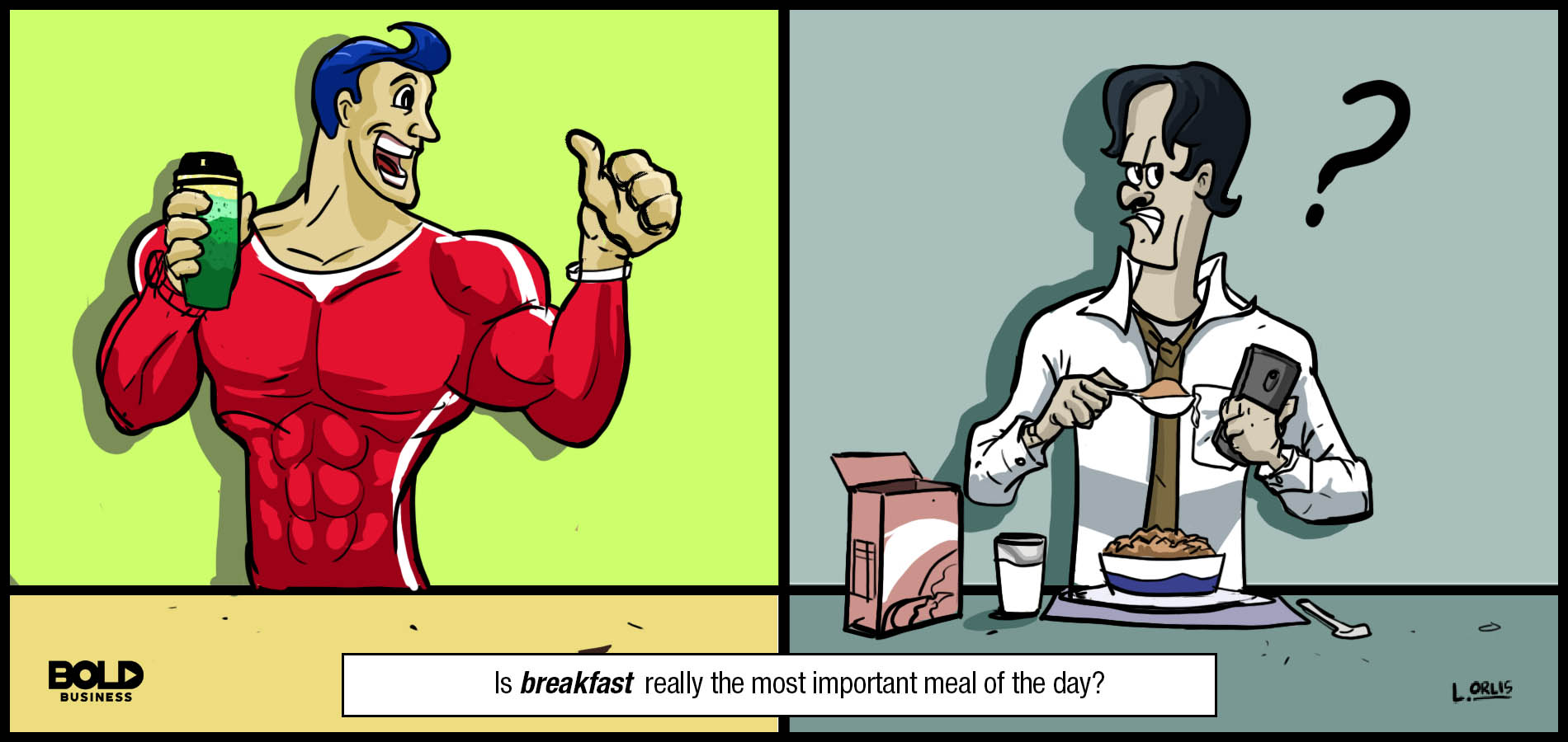 a cartoon of two men arguing about breakfast as the most important meal of the day