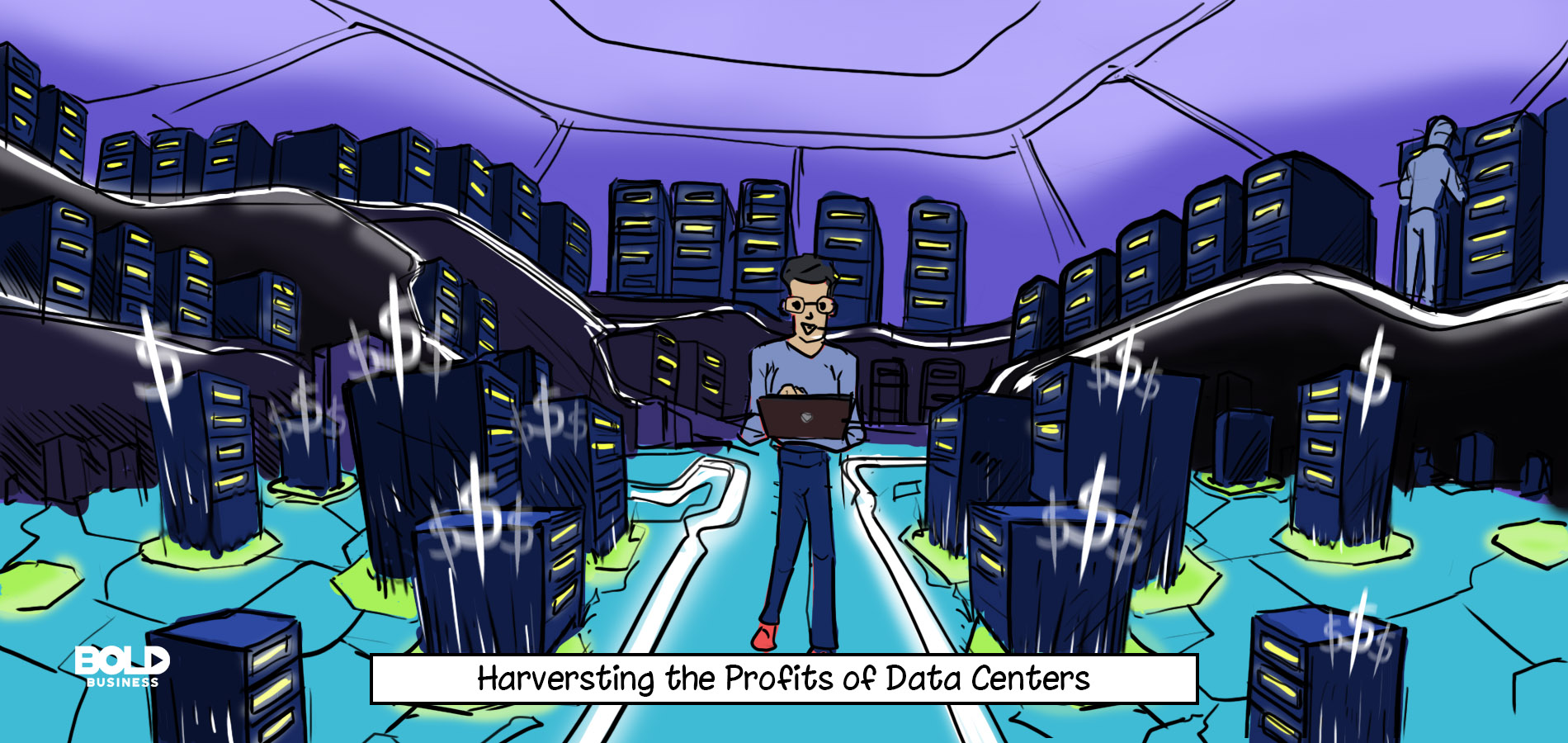 cartoon of a man with a laptop working on harvesting data while standing in a room full of new data center technologies