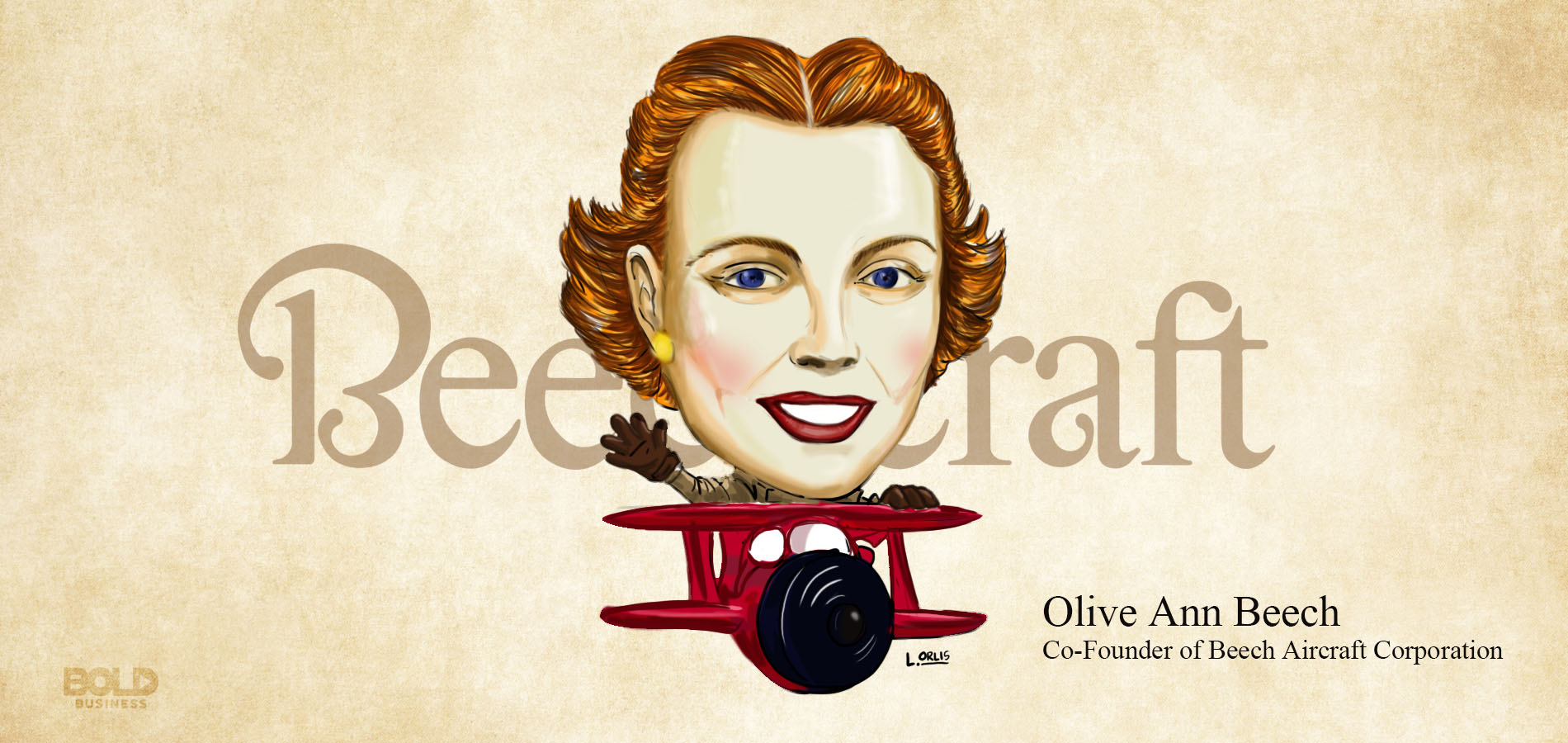 queen of the aircraft industry olive ann beech riding in a plane cartoon