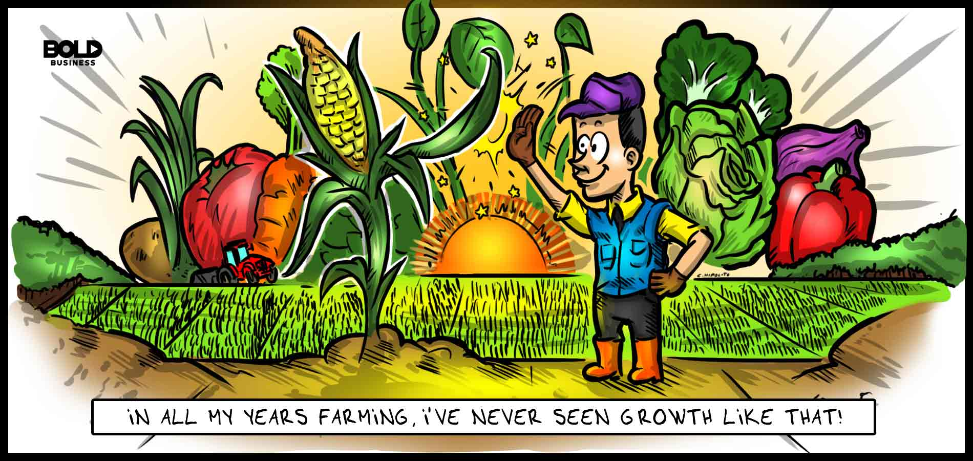 cartoon of a farmer high-fiving a stalk of corn while other kinds of vegetables surround them in the midst of a sunrise