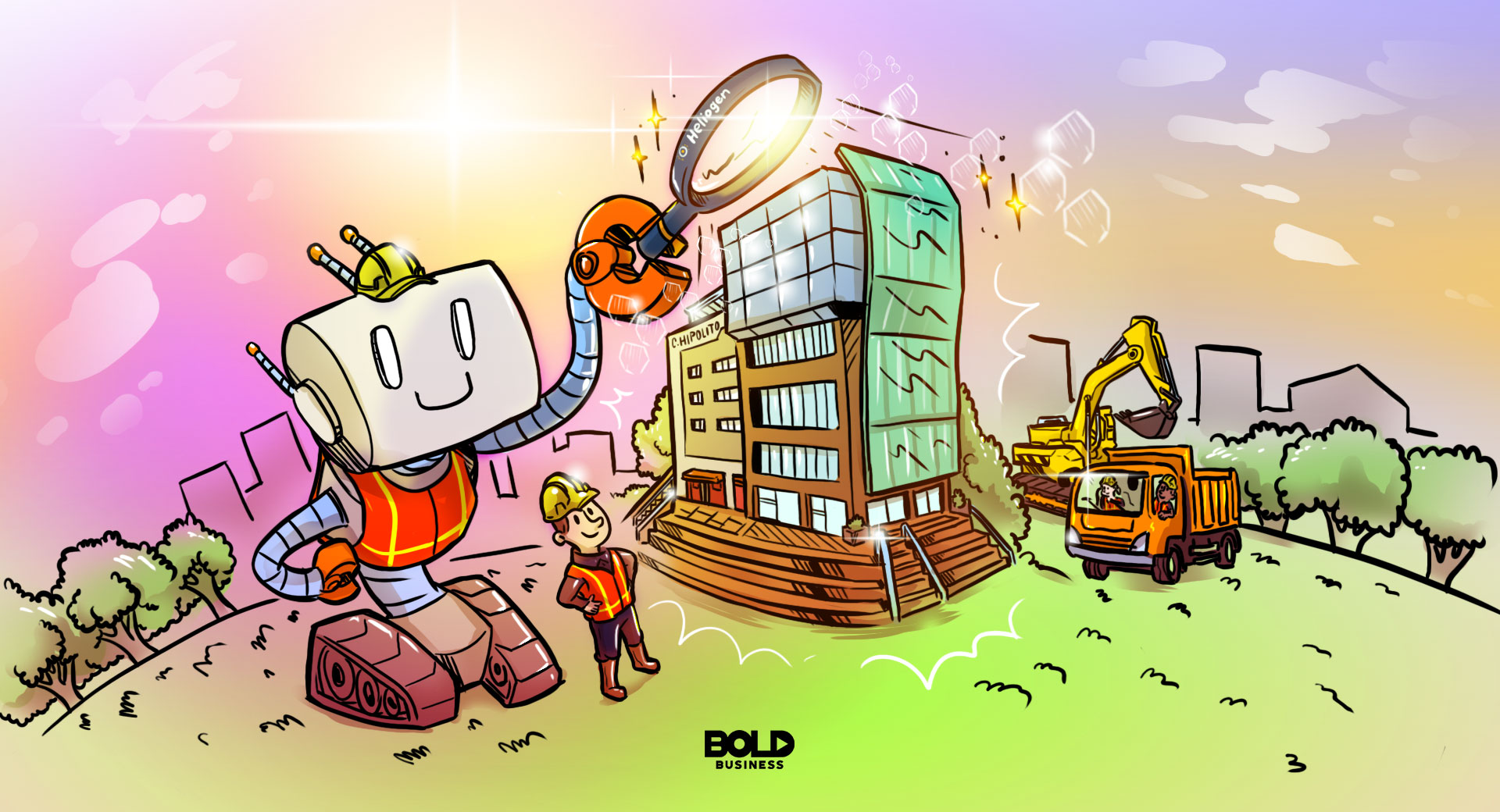 cartoon of a giant AI robot using a magnifying glass to direct the sun's light to a building using solar energy for heat