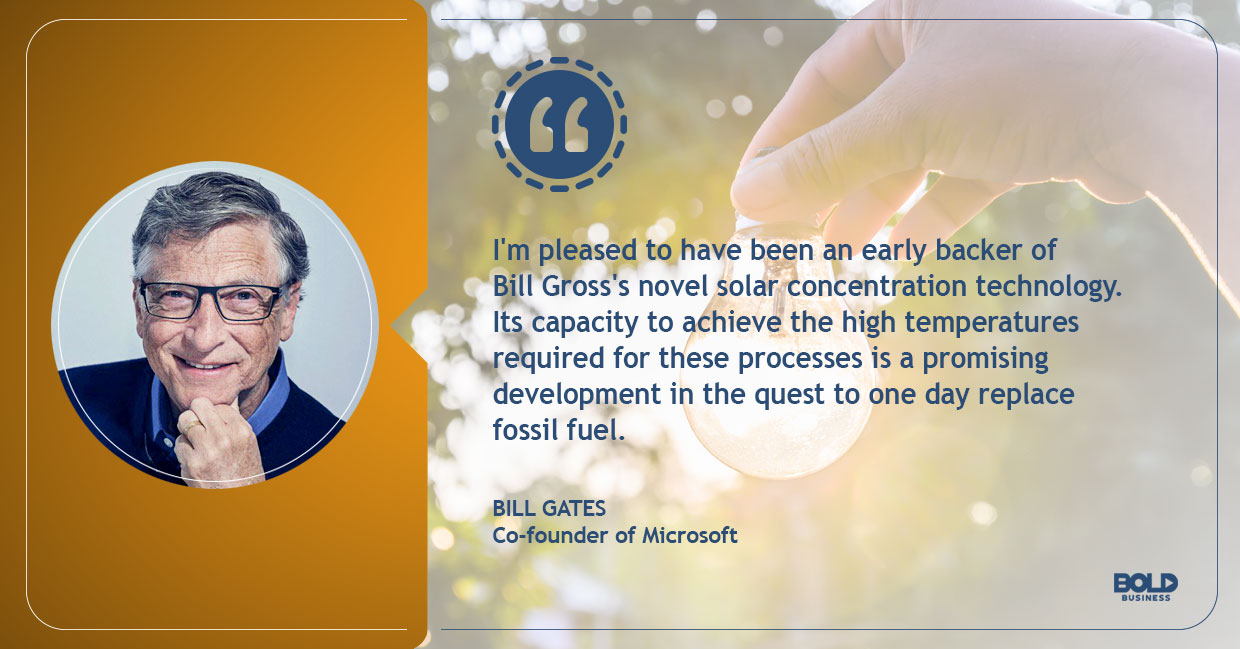 a photo quote of Bill Gates in relation to the topic of Heliogen's new solar solution