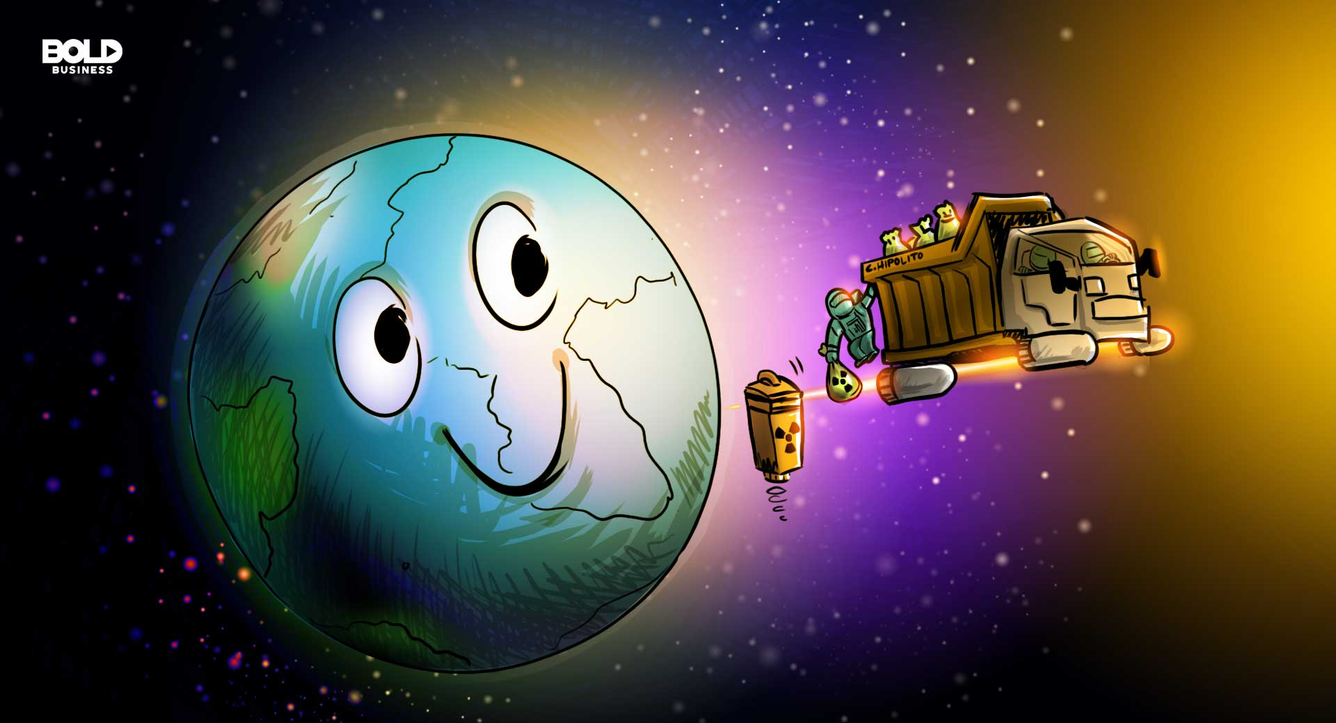 a cartoon of a space garbage truck dumping waste away from earth