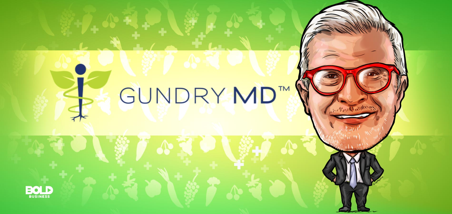 cartoon caricature of Steven Gundry, the doctor behind the Dr. Gundry diet, posing as the bold leader spotlight of the week