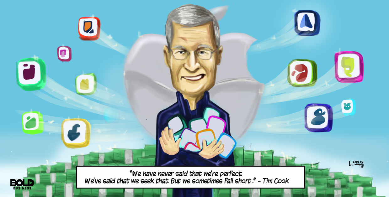 cartoon of Tim Cook related to the ongoing dialogue about Apple Apps and the possibility of an Apple monopoly or monopsony