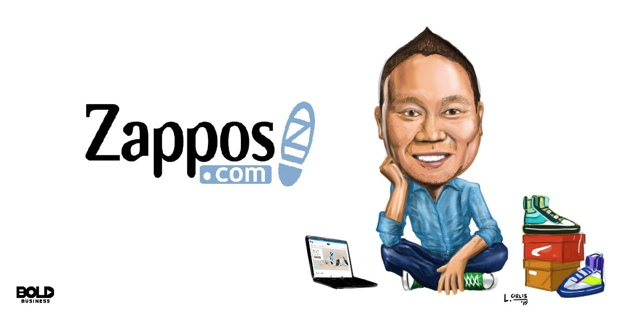cartoon caricature of Tony Hsieh of Zappos, with his leadership philosophy, posing as the bold leader spotlight of the week
